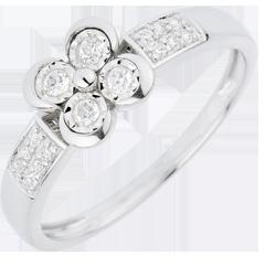 Anello Solitario Freschezza - Quadrifoglio degli Innamorati - Oro bianco - 18 carati - 12 Diamanti - 0.148 carati