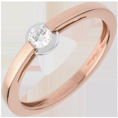 Anello Solitario giunco - Oro rosa - 18 carati - Diamante - 0.16 carati