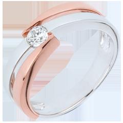 Anello solitario Nido Prezioso - Oro bianco e Oro rosa - 9 carati - Diamante - 0.18 carati