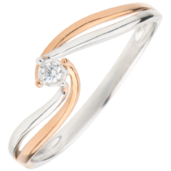 Anello Solitario Nido Prezioso - Preziosa - Oro rosa e Oro bianco - 18 carati - Diamante