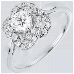 Anello Solitario Rosa di Carato - Oro bianco - 18 carati - 29 Diamanti - 0.60 carati