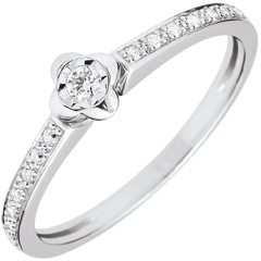 Anello Solitario Sboccio - Peonia - Oro bianco - 18 carati - Diamanti