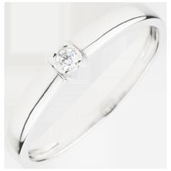 Anello Solitario Tesoro caramella - Oro bianco - 9 carati - Diamante
