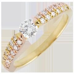 Anello solitario Trionfale - Oro giallo e Oro rosa - 9 carati - Diamanti - 0.45 carati - Diamante centrale -0.25 carati