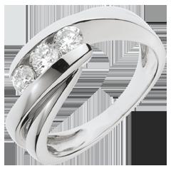 Anello trilogia Nido Prezioso - Ritornello- Oro bianco - 18 carati - 3 Diamanti - 0.54 carati