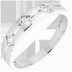 Anello Trilogy Losanghe - Oro bianco - 18 carati - 3 Diamanti