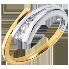Anello Trilogy Narval - Oro giallo e Oro bianco - 18 carati - 3 Diamanti - 0.13 carati