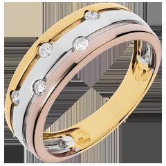 Anello Via Lattea - Oro bianco,Oro giallo e Oro rosa - 18 carati - 5 Diamanti - 0.13 carati