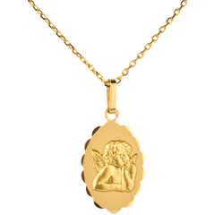 Angel Raphael Medal with floral edging
