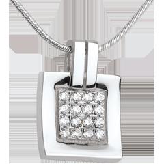 Anhänger Karo in Weissgold - 0.24 Karat - 16 Diamanten