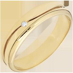 Anillo Amor - Alianza hombre de oro amarillo 9 quilates - diamante 0.22 quilates