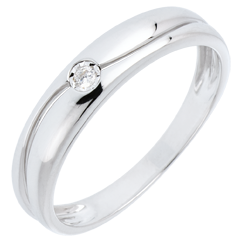 Anillo Amor oro blanco 9 quilates y diamante 0.022 quilates