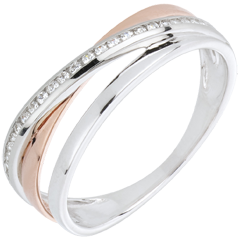 Anillo Aros Modificado - oro rosa y oro blanco 18 quilates y diamantes