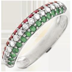 Anillo bandera italiana - oro blanco 9 quilates - diamante y piedras preciosas