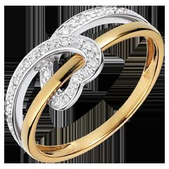 Anillo Cinta Corazón - oro blanco y oro amarillo 18 quilates