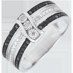 Anillo Claroscuro - Anochecer - oro blanco, diamantes blancos y negros - 18 quilates