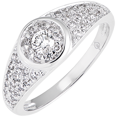 Anillo de compromiso Destino - Apolina - oro blanco de 9 quilates y diamantes
