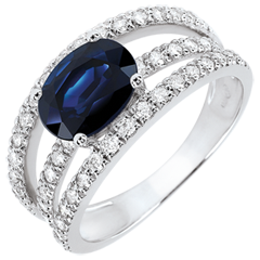 Anillo de compromiso Destino - Duquesa - zafiro y diamantes 1.7 quilates - oro blanco 18 quilates