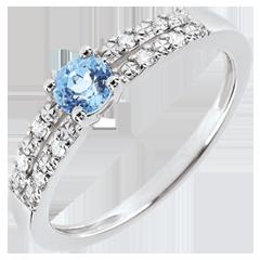 Anillo de compromiso Margot - topacio y diamantes 0.3 quilates - oro blanco 18 quilates