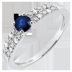 Anillo de compromiso Margot - zafiro y diamantes 0.37 quilates - oro blanco 18 quilates