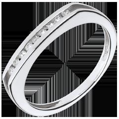 Anillo compromiso - oro blanco 18 quilay diamantes