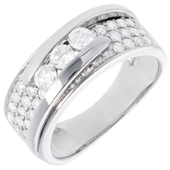 Anillo Constelación - Trilogía con pavimento desplazado - 0. 86 quilates - 35 diamantes