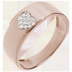 Anillo corazón oro rosa y diamantes