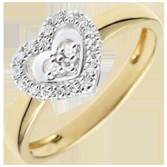 Anillo Corazón Paris - Dos Oros - oro amarillo y oro blanco 9 quilates