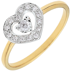 Anillo Corazón Stephanie - dos oros - oro blanco y oro amarillo 9 quilates