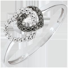 Anillo Corazones Cómplices oro blanco 9 quilates y diamantes negros