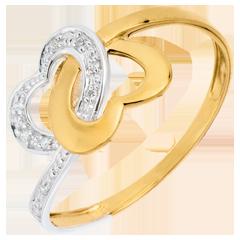 Anillo Corazones Unidos dos oros - oro blanco y oro amarillo 9 quilates
