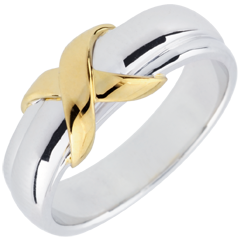 Anillo Cruz - oro amarillo y oro blanco 9 quilates