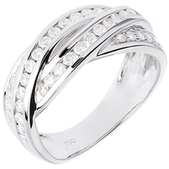 Anillo Destino - Trenzado - oro blanco empedrado 18 quilates - 38 diamantes 0.63 quilates