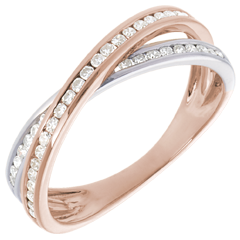 Anillo Diamante - oro rosa y oro blaco 18 quilates