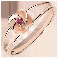 Anillo Eclosión - Primera rosa - oro blanco y rubí - 9 quilates