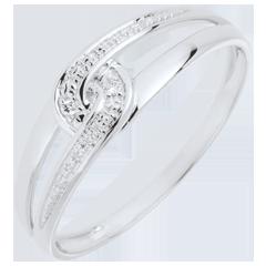 Anillo Evita oro blanco 9 quilates y diamante