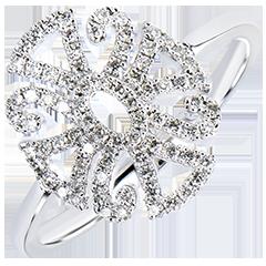Anillo Frescura - Arabesco variación - oro blanco de 9 quilates y diamantes