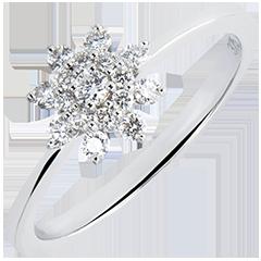 Anillo Frescura - Flor de las Cimas - oro blanco de 9 quilates y diamantes