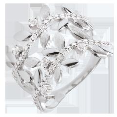 Anillo Jardìn Encantado - Follaje Real doble - oro blanco 18 quilates y diamantes