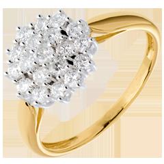 Anillo kaleidoscopio empedrado diamantes - oro blanco y amarillo 18 quilates - 19 diamantes