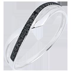 Anillo Marina - oro blanco 18 quilates y diamante negro
