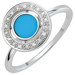 Anillo de matrimonio Felicidad - oro blanco 9 quilates - Turquesa y diamantes