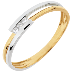 Anillo Nido Precioso - Adoración - oro blanco y oro amarillo 18 quilates