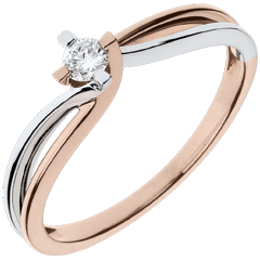 Anillo Nido Precioso - Clara - oro blanco y oro rosa 18 quilates - diamante 0.11 quilates
