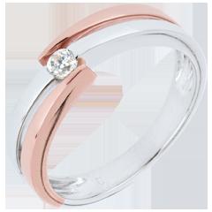 Anillo Nido Precioso - Solitario Aros - oro blanco y rosa 18 quilates