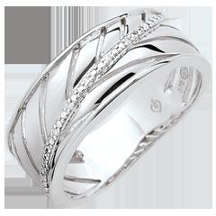 Anillo Palma - oro blanco cepillado 9 quilates y diamantes