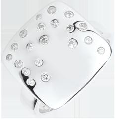 Anillo Pavé Estrellado - plato y diamantes