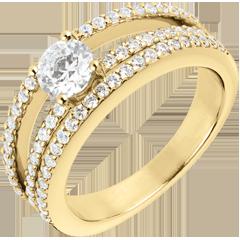 Anillo de Pedida Destino - Duquesa - oro amarillo 18 quilates - diamante central 0.5 quilates - 67 diamantes