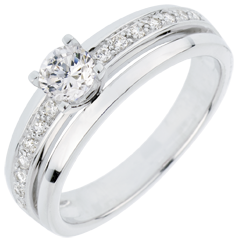 Anillo de Pedida Solitario Destino - Mi Reina - gran modelo - oro blanco - diamante 0. 28 quilates