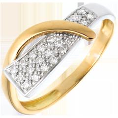 Anillo Sirena - oro amarillo y oro blanco empedrado 18 quilates - 20 diamantes